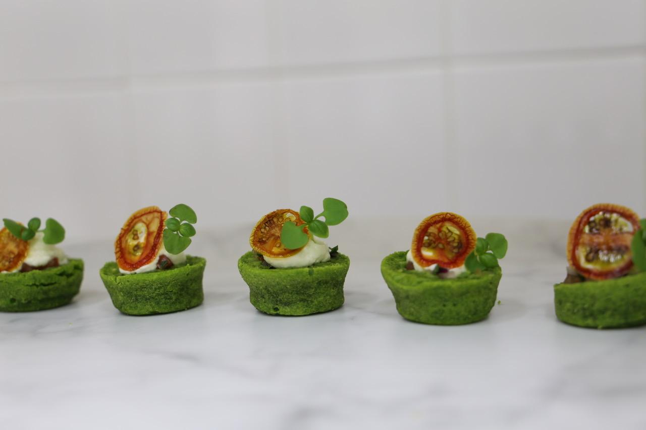 Basil and tomato canapés