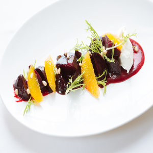 Beetroot, orange, goats curd