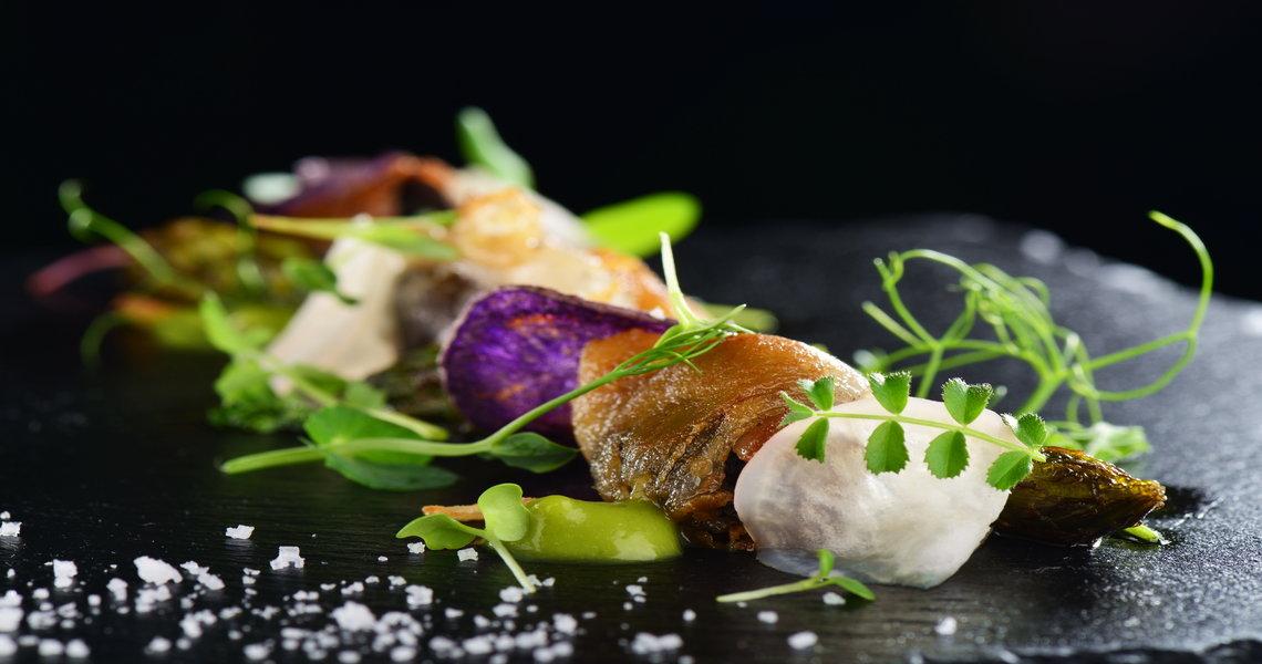 Pea, courgette, violet potato, goats cream