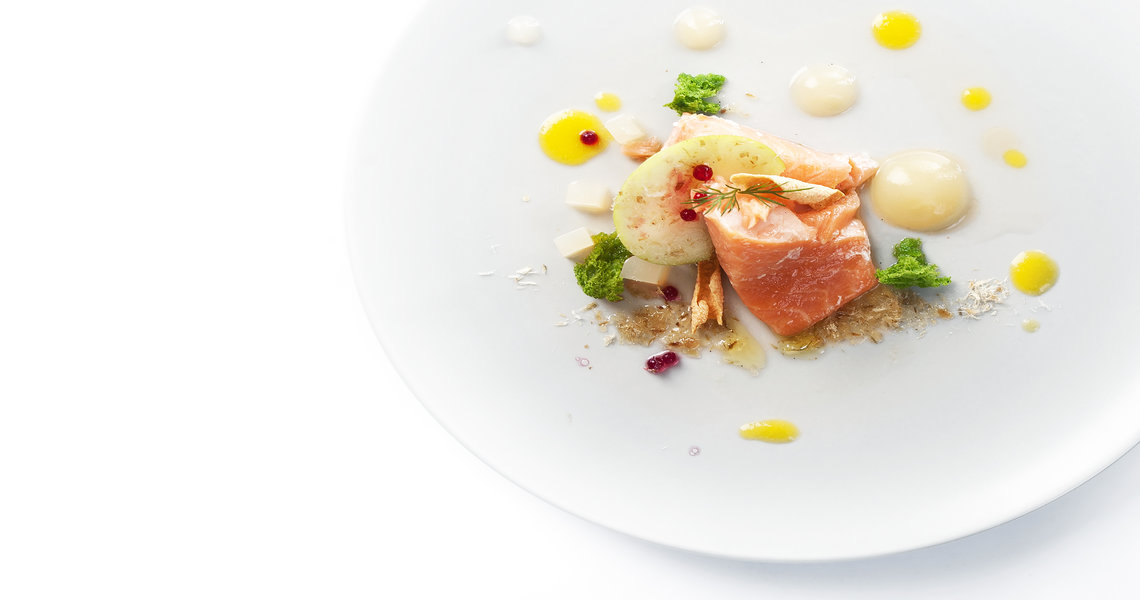 Salmon, celeriac and apple