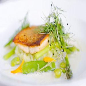Sea trout, asparagus, broad bean