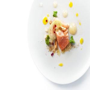 Salmon, apple, horseradish