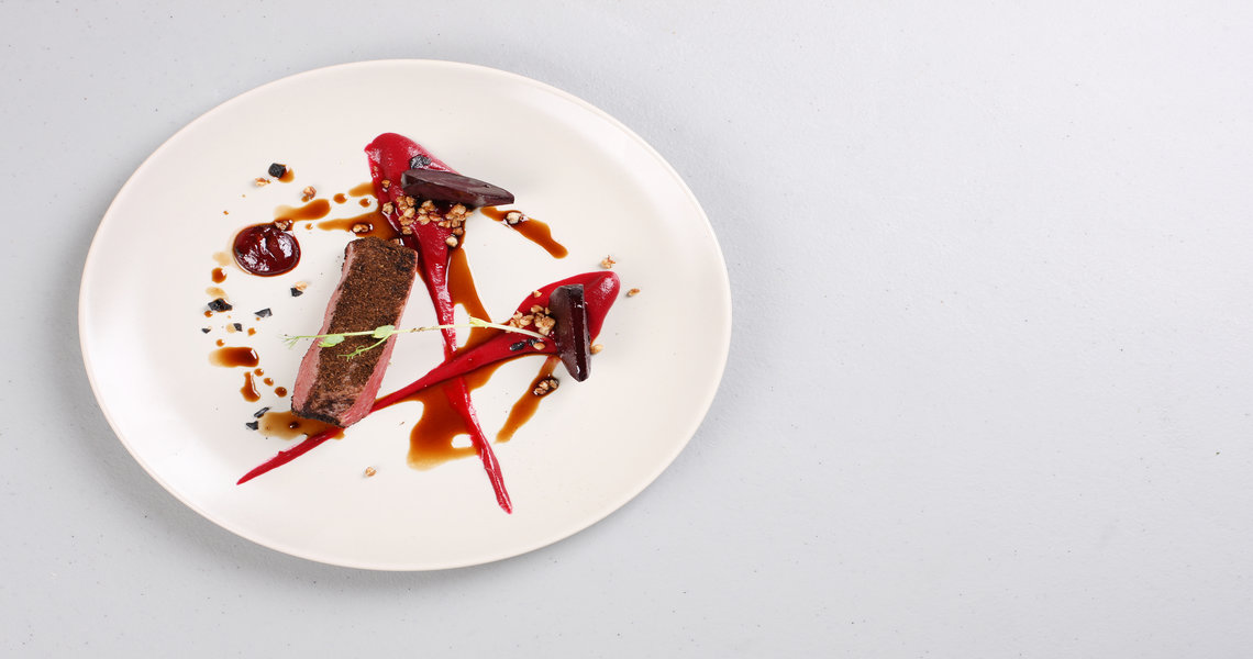 Venison, beetroot three ways